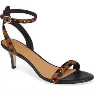 Joie Leopard Heels With Ankle Strap